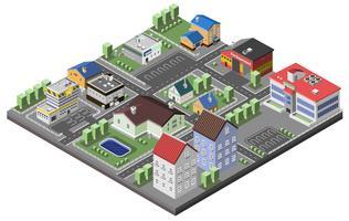 Concepto suburbano isométrico