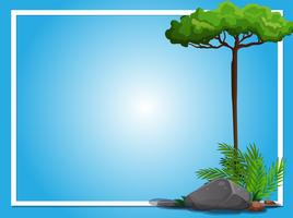 Border template with tree and rock