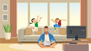 Children play and jump on sofa behind working business father