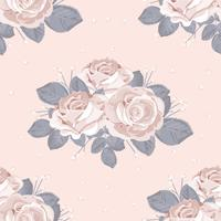 Retro floral seamless pattern. White roses with blue gray leaves on pastel pink background. Vector illustration