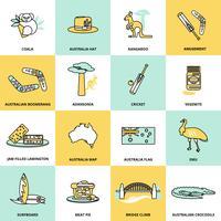 Conjunto de iconos de Australia línea plana