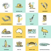 Australia Icons Set Flat Line