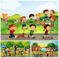 Muitas crianças fazendo coisas no parque