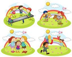 Un insieme di bambini che giocano al parco giochi