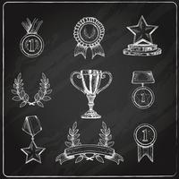 Award icons set chalkboard