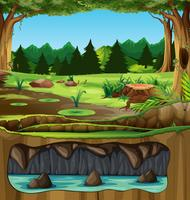 Beautiful green nature landscape vector