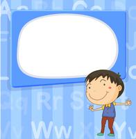 Modello di confine con ragazzo su sfondo blu