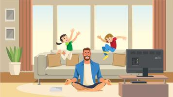 Children play and jump on sofa behind angry and stressed meditation father