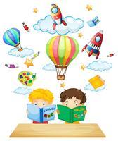 Dois, crianças, leitura, livros ingleses