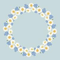 chamomile and forget-me-not flowers pattern on vintage blue background