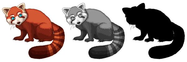 Set med röd panda karaktär