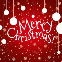 Tarjeta de feliz Navidad con copos de nieve y adornos