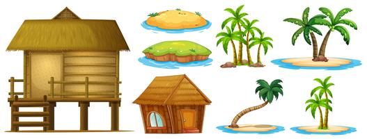 Summer set different shapes of island and hut