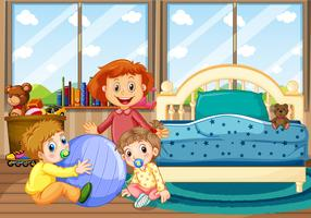 Three children in bedroom with blue bed
