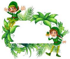 Plantilla de borde con elfos en traje verde.