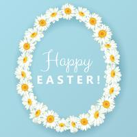 Happy easter card. Chamomile egg shape frame on blue background