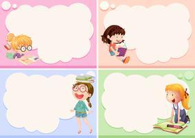 Vier Bilder mit glücklichen Mädchen