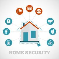 Home Security ícone Flat