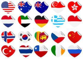 Drapeaux internationaux en forme de coeur