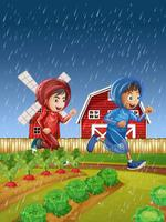 Two boys running in the rain