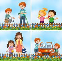 Set of happy family activity