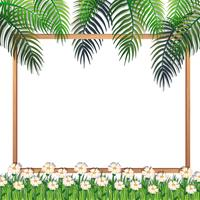Nature Frame with Flowers and Leaf