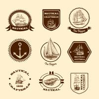 Sketch nautical emblems vector