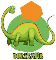 Green brachiosaurus and speech bubble template
