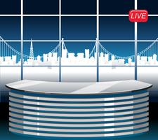 A modern news studio background vector