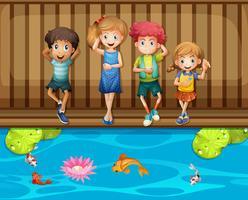 Quatro crianças, tendo divertimento, por, a, pesque lagoa