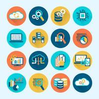 Datenbankanalyse-Symbole flach