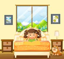 Little girl in bedroom with pet dog