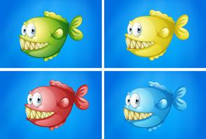 Fish in four colors