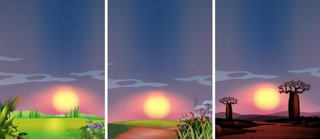 Background scenes with sunset at different places