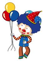 Happy clown with colorful balloons