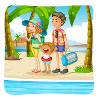 Family taking vacation on the beach vector