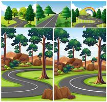 Scènes avec route à travers la forêt