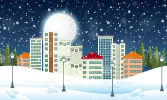 Snow in the urban town vector