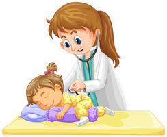 Arts die op klein peutermeisje controleert