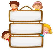 Children on wooden banner vector