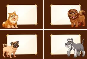 Vier Grenzschablonen mit niedlichen Hunden
