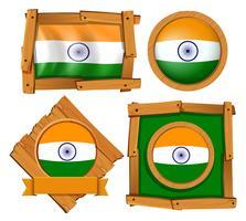 Indien flagga på runda och kvadratiska märken