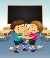 Scena di classe con ragazzi che combattono