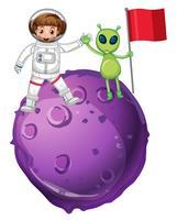 Astronauta y alien sobre planeta morado.
