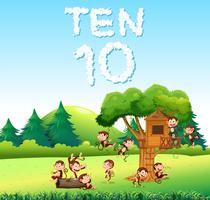 Ten monkey at the forest