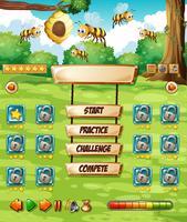 Plantilla de juego de abeja en la naturaleza