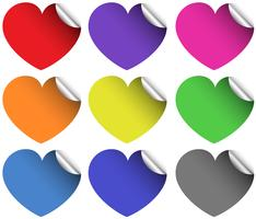 Pegatinas de corazones en diferentes colores.