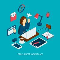 Freelance en milieu de travail isométrique