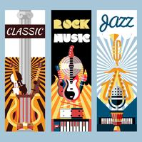 Music flat banners set
