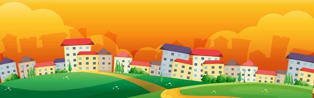 Scena di sfondo con edifici nel villaggio